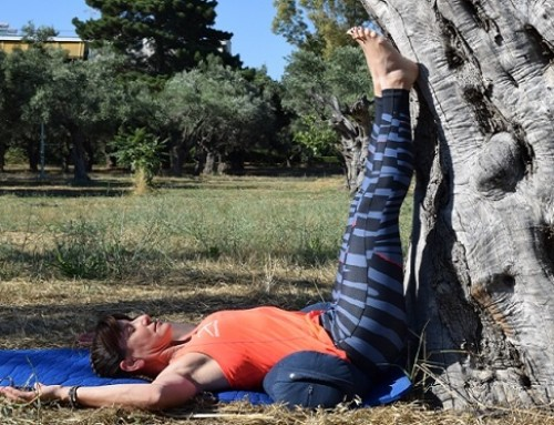 Restorative yoga: Legs up the Tree… Wall Pose with Bolster